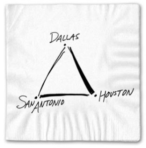 Southwest Airlines - Napkin, Dallas Houston San Antonio - Simple idea
